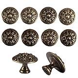 Racksoy 10x pomelli per mobili e cassetti in stile rétro anticato, motivo floreale color bronzo, in lega di zinco, per armadio, comò
