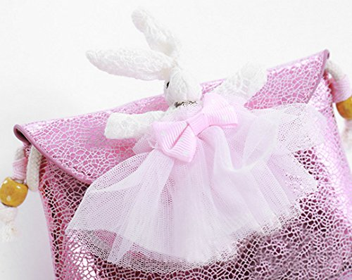 Milya Mädchen bezaubernde Handtasche Umhängetasche Kinder-Geldbörse Spitze Umhängetasche?Lange Ohren Hasen?Handtaschen Pink