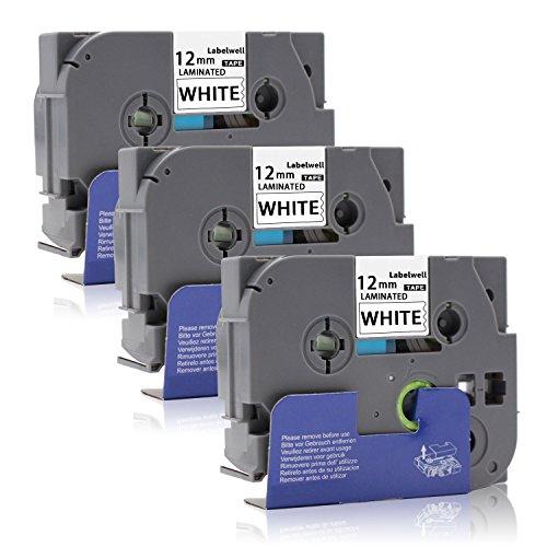 3x P-Touch Tze-231 Tze231 Tz-231 Schriftband 0.47' 12mm x 8m für Brother P-Touch 1010 H105 1000 D400 H100LB E100 H105WB D400VP D200BW E100VP P750W Beschriftungsgerät, Schwarz auf Weiß - Labelwell -