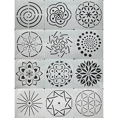 12 Pcs Mandala Stencils,Mandala Dotting,Painting Stencils Tool,Fancy  Stencil Mandala Template,Scrapbook DIY Drawing Template