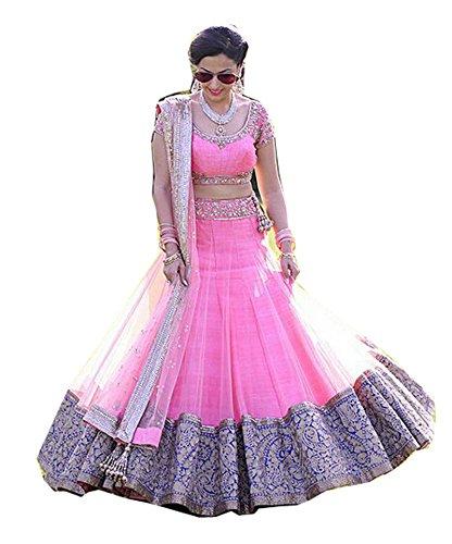 FebForrest Women\'s Pink Net Attractative Indo-Western Semi-Stitched Lahenga Choli (Free Size) [SL 69 (FF_Z1)_Pink]