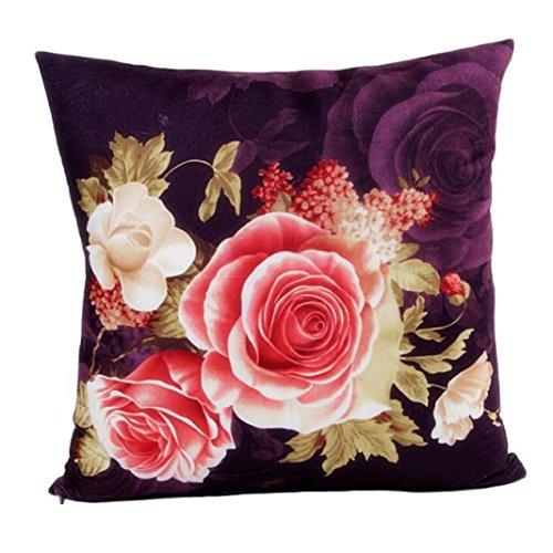 Winkey Baumwollleinen, quadratisch, neuestes Design Druck Färbe-Pfingstrose Schlafsofa Home Decor Kissenbezug 45cm * 45cm/45,7x 45,7cm, violett, 45cm*45cm/18*18