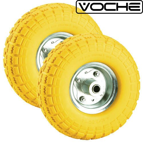 "Voche® 2 X 10"" Puncture Burst Proof Solid Rubber Sack Truck Trolley Wheels Spare Tyres Test"