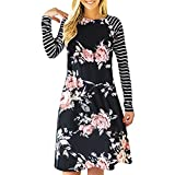 NEWISTAR Women Floral Striped Midi Dress Loose Aline Crewneck T Shirt Dress Black Large