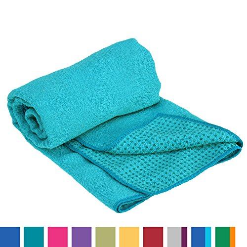 GRIP2 Yoga Towel, Yoga-Handtuch mit Antirutsch-Noppen, rutschfest, Mikrofaser-Yogatuch, sehr gut für Hot Yoga (petrol), Yogamattenauflage, antibakteriell