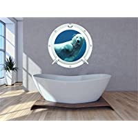 Red Parrot Graphics Polar Bear 2 under water sea Porthole wall art sticker decal full colour print (Small 20cm x 20cm)