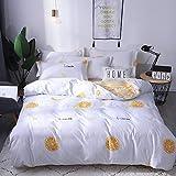 BH-JJSMGS Bettbezug aus vierteiliger Baumwolle, Bettlaken, Bettbezug, zitronengelb 220 * 240 cm