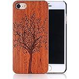 Sunroyal® para iPhone 5 5S Funda de Madera Natural Hecha a Mano de Bambú Madera Retro Ultra-delgada Retro Carcasa Wood Case Cover con Gratis Protector de Pantalla para tu Smartphone del iphone 5 5S - (Árbol)