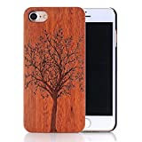 Coque iPhone 5s, Sunroyal Coque pour iPhone 5 Bois Véritable + PC Bumper Dur Hard Housse Etui Hybride en Bois Naturel Sculpté Wood Case Cover de Protection pour Apple iPhone 5, iPhone 5S – Arbre