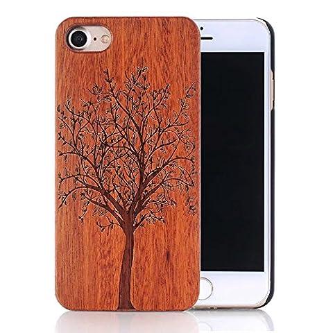Coque iPhone 5s, Sunroyal® Coque pour iPhone 5 Bois Véritable + PC Bumper Dur Hard Housse Etui Hybride en Bois Naturel Sculpté Wood Case Cover de Protection pour Apple iPhone 5, iPhone 5S – Arbre