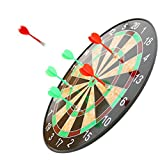 #5: TECH SHOP Children Adult Magnetic Score Safety Dartboard Kit with 6 Soft Darts,Indoor and Outdoor Games Gifts, 17-inch (Black, Safty Dart Board)