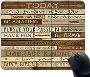 ماوس باد Today is a Brand New Day لوحة ماوس ملهمة للألعاب من الخشب العتيق تصميم فريد من نوعه من المطاط المقاوم للانزلاق قاعد