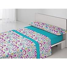 Juego sábanas pirineo YEGEN Antonella. Cama 150 cm. Color Azul - Sedalinne