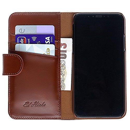 """Luxus Echtes Leder iPhone 6S iPhone 6 Ledertasche Kompakt Brieftasche Hülle mit """"Doppelt Schild"""" Schutz und Gegenüber Magnetverschluss um vermeiden Kreditkarte Korruption. Die Rila in Scharlachrot Personalised in Vintage Cognac Brown"""
