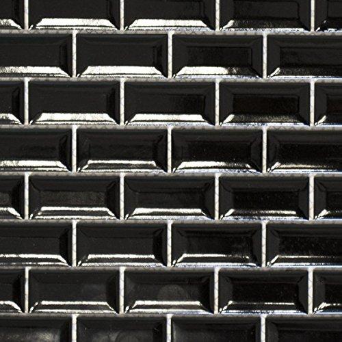 Mini Metro Subway Mosaik Fliese Keramik schwarz Brick Bond Diamond für WAND BAD WC DUSCHE KÜCHE FLIESENSPIEGEL THEKENVERKLEIDUNG BADEWANNENVERKLEIDUNG WB26-0302