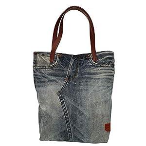 Jeanstasche blau mit Ledergriffen braun Geräumige Handtasche groß Leichte weiche Tasche Shopper Tasche Denim für Frauen Mädchen Weihnachtsgeschenk