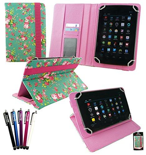 Emartbuy Set di 5 Stilo + Universale Serie Verde Rose Giardino PU Pelle Angolo Multi Esecutivo Wallet Portafoglio Custodia Case Cover con Scomparti per Carte di Credito adatto per Samsung Galaxy Tab 4 7.0 Pollice Tablet ( Wi-Fi / 3G / LTE Models )