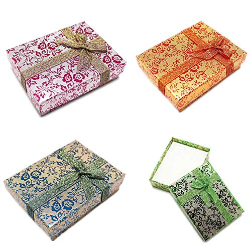Print Vintage Clutch (Gift Box Paper - Fashion 4pcs Gift Boxes Bag Floral Bow Necklace Bracelet Ring Set Small Flower Print Box Wholesale - Groceries Training Holder Vintage Women Bags Empty Travel Gloves Leat)