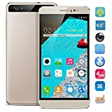 HyRich® Unlocked 6 inch Android 5.1 3G Smartphone GSM Cell Phone Dual Sim 1G RAM Fast 8GB ROM (Champaign Gold)