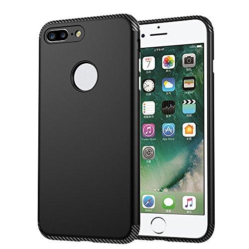Skitic Dual Layer Housse de Protection Bumper pour iPhone 7 Plus, Ultra-mince TPU Coque + PC Dépoli Plasticque Fibre de Carbone Hybride Luxe Anti-choc Retour Etui Case Cover pour Apple iPhone 7 Plus - Noir