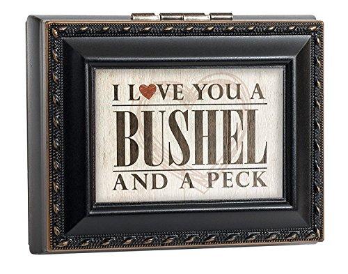 & A Peck schwarz mit gold Seil Rand Jewelry Andenken Box ()