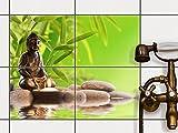 creatisto Bad-Folie, Küchenfliesen | Fliesensticker Aufkleber Folie Bad Küche ergänzend zu Kühlschrankmagnet Baddeko | 25x20 cm Erholung Wellness Buddha Zen - 4 Stück