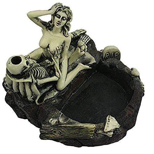 Aschenbecher Aschenbecher Girl Skull und Fun Taste The Living Room Decoration ()