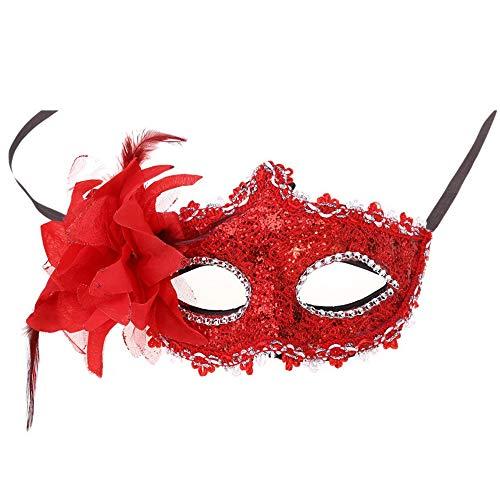 Jer Frauen Maske Venedig Sexy Spitze mit Strass Kostüm Maskerade Masken für Karneval, Anonymous Venetian Carnival Mask und Tanz, Rot Produkt