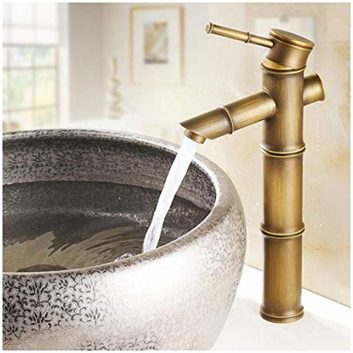 Hot-tap (Antique Brass Waterfall Bathroom Sink Faucet Vessel Tall Bamboo Water Tap Mixer Hot And Cold Single Hole Basin Faucet Vintage B)