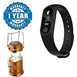 Drumstone Sport Smart Bluetooth Band With Heart-rate Monitor, Pedometer,Sleep Monitoring With 6 LED Solar Power Camping Lantern Rechargable Collapsible Night Light Compatible with Xiaomi, Lenovo, Apple, Samsung, Sony, Oppo, Gionee, Vivo Smartphones (One Year Warranty)