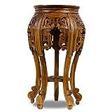 Oriental Galerie Beistelltisch Nachttisch Rundhocker Blumenhocker 65 cm Teak Holz Hocker Barock Massiv Hellbraun