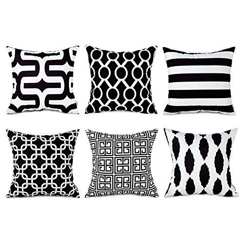 Top finel morbido federe cuscini copertura comodo nero per divano decorativi letto poliestere arredo di 6, 45x45 cm
