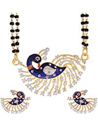Sitashi 18 K Gold Plated Alloy And American Diamond Peacock Design Fashion Jewellery Mangalsutra Set For Women