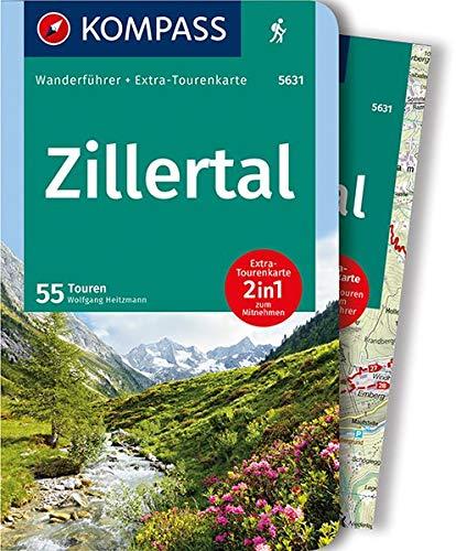 KOMPASS Wanderführer Zillertal: Wanderführer mit Extra-Tourenkarte 1:50.000, 55 Touren, GPX-Daten zum Download: Wandelgids met overzichtskaart