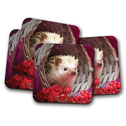 Juego de 4 posavasos de erizo para bebé, diseño de flores rojas y bayas