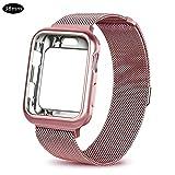 Pictury Uhrenarmband für Apple Watch, Edelstahlgewebe Milanese Sport Flexible Armbandschlaufe für Iwatch Serie 1/2/3 (38mm)