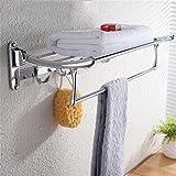 Uncle Sam LI-Kreativ Faltender Edelstahl-Handtuchhalter, faltbares Badezimmer-Regal mit Haken oben, an der Wand befestigt Montage erforderlich (größe : 60cm)