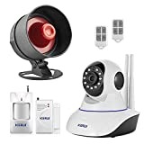 KERUI Wireless Live Loud Siren Indoor/Outdoor Waterproof Horn up to 110dB+2.4G WIFI Network IP Camera 720P Video Monitoring Security Home Alarm System Kit