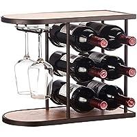 Yxsd Estante del Vino Estante del Vino del Estante de Cristal Barra casera Creativa Estante de Cristal Rojo Colgante del Vino sostenedor de Copa de Cristal invertido Colgante Negro