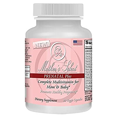 Mother's Select Prenatal Plus - Pre-Natal Vitamins and Minerals - Long Lasting 90 Capsule 3 Month Supply - With Iron, Folate and Calcium - Gentle Veggie Pills from Mother's Select
