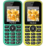 Peace P4 Green Black+ P4 Yellow Black COMBO OF TWO Mobile Phones With 1.8 Inch, Dual Sim, 850 MAh Battery, Wireless FM, Bluetooth, Digitel Camera, Call Recording, MP4, Internet & 1 Year Warranty