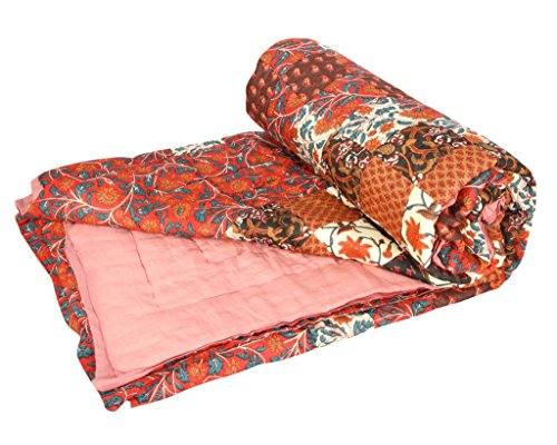 Stole & Yarn Maroon Patch Print Double Bed Soft Indian Quilt Jaipuri Razai Blanket Cotton Rajai Light Weight Blanket Printed Dohar Comforter