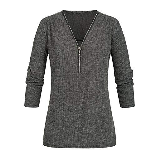 iYmitz Damen Casual Tops Shirt V-Ausschnitt Reißverschluss lose T-Shirt Bluse Tops Audrey Mantel