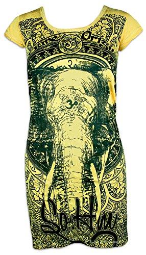 Sure Clothing Sure Damen Tunika-Kleid Ganesha OM Symbol Elefanten-Gott Indien Hinduismus Religion Goa (Gelb L)
