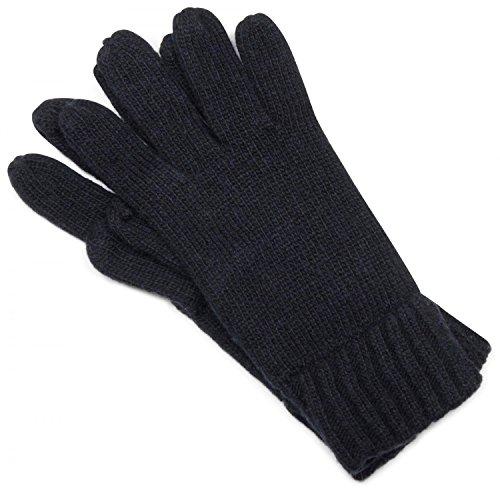 styleBREAKER klassische Handschuhe, warme Strickhandschuhe mit doppeltem Bund, einfarbig, Unisex 09010005, Farbe:Midnight-Blue;Größe:S-M