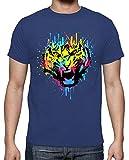 latostadora - Camiseta Tigre de Salpicadura para Hombre Azul Royal 3XL