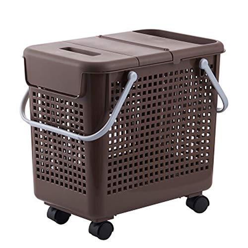 NBLYW Cesta de lavandería con Ruedas Cesta Sucia con Tapa Baño Multifuncional Cesta de lavandería con Ropa práctica Patrón de Orificio de Almacenamiento para ventilación,Brown