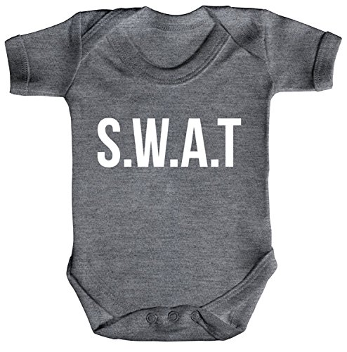 rkleidung Strampler Bio Baumwoll Baby Body kurzarm SWAT Kostüm 1, Größe: 0 - 3 Monate,Heather Grey Melange (Swat Halloween Kostüm)