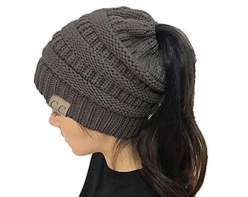Produits de haute qualité Ponytail Cap Bun Ados Filles Crochet Tricot Bonnet  Chapeau Chaud Hiver En f23398f49b1