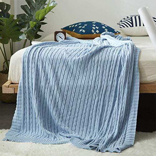 Merry Angel Kabel Stricken Decke Sofa Decke dekorative Decke Cotton Wolldecke Decke Baumwolle Stricken Decke (Hellblau) -